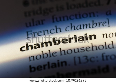chamberlain word in a dictionary. chamberlain concept #1079026298