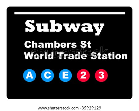 Chambers Street World Trade Station subway tube train sign isolated on black background.