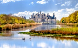 Chambord castle, royal medieval french castle at Loire Valley in France, Europe
