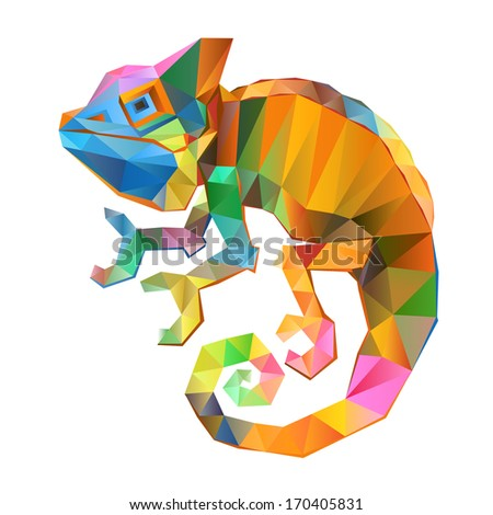 chameleo geometric (illustration of a many triangles)  - stock photo