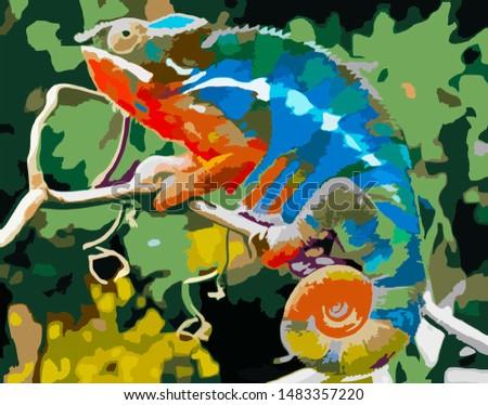 chameleons, charming chameleons, charming animal illustrations