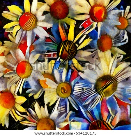 Chamomile. Floral abstraction in modern cubic style. Executed in oil on canvas with elements of pastel painting.