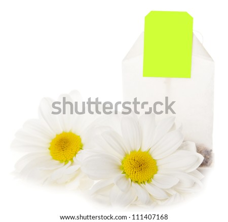 chamomile flower isolated and tea bag