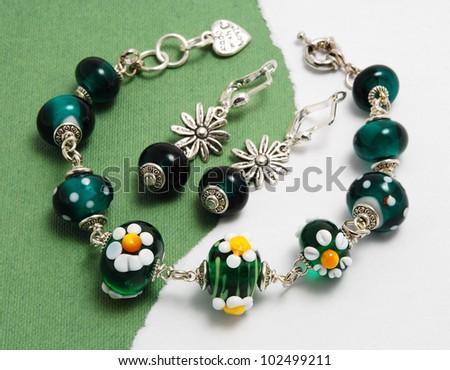 chamomile Jewellery set made of murano glass - stock photo