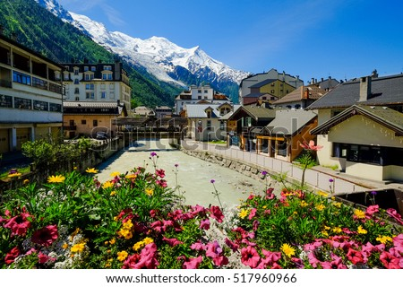 Chamonix downtown in summer, France