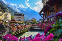 CHAMONIX, FRANCE. View of the  Arve river and Mont-Blanc massif from the centre of Chamonix .