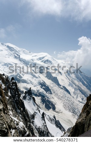 Chamonix Mont Blanc France. July 2015. View of Auguille Du midi observation. The ice caps and mountains. #540278371