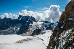 Chamonix Mont-Blanc, Rhone/Alpes, France - August 2019: Mountain landscape in the French Alpes at an altitude of 3800 meters in the Mont Blanc area.