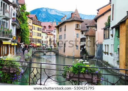 Chamonix Village Arve river, France