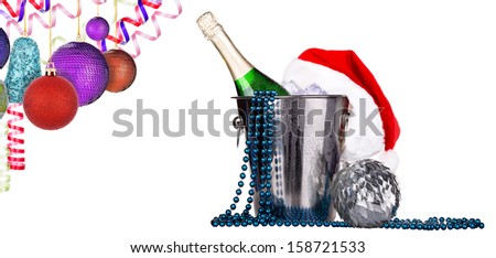Champagne and christmas decor. Isolated on white background