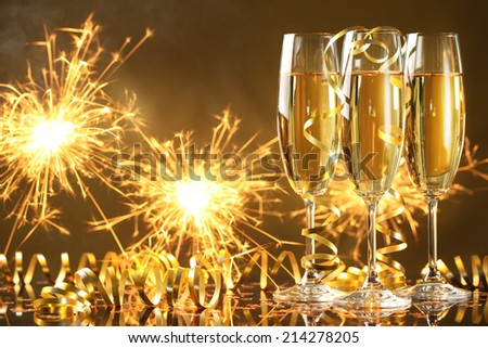 Champagne and fireworks,new year celebration. #214278205