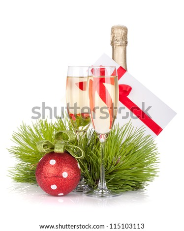 Champagne and gift letter. Isolated on white background