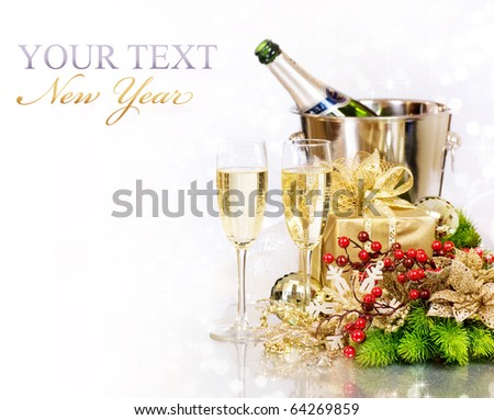 Champagne and Gifts.New Year Celebration.Isolated on white