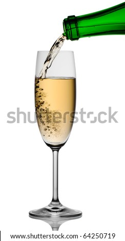 Champagne being poured into glass, isolated on a white background.