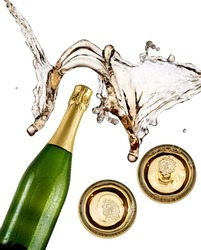 Champagne bottle and two glasses splash, top view