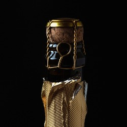 Champagne bottle closed cork and  muzzle on a dark background