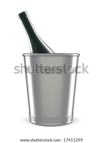 champagne bottle in bucket isolated on white
