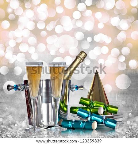 Champagne Bottle Silver Bucket Bubbly Glasses Gold Party Hat Green Blue Party Favors Elegant Vintage Grey Gold Pink Happy New Years Eve or Abstract Grunge Crystal Ice Holiday Glitter Light Background