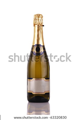 Champagne bottle with blank label