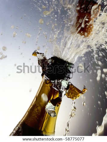 Champagne Bottle with cork shooting