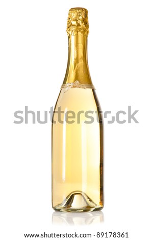 Champagne bottle with decoration bow on white background