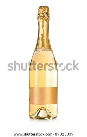 Champagne bottle with empty label isolated on the white background