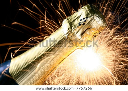champagne bottle with sparks