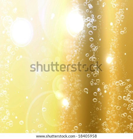 champagne bubbles on a golden or yellow background