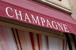 champagne cave sign letters wine bar showcase outdoor Cafe