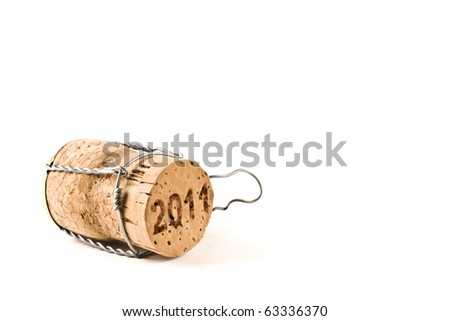 champagne cork isolated on white selective focus