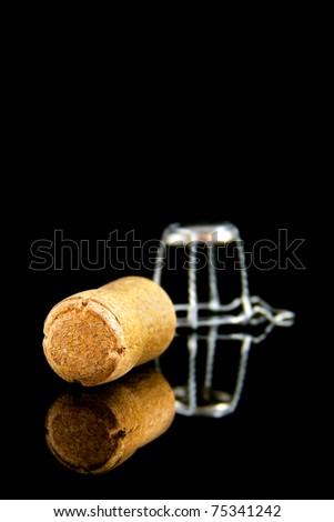 Champagne cork on black