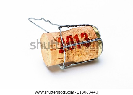 Champagne corks with 2013 year stamp - stock photo