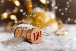 Champagne corks with 2014 year stamp in snow