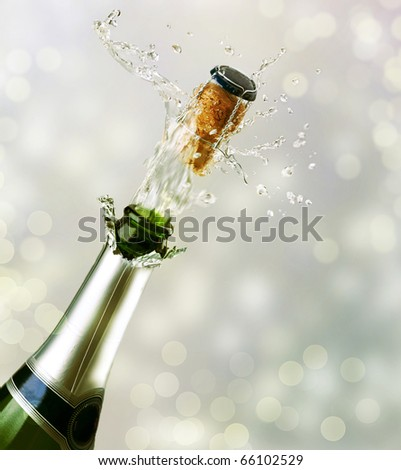 Champagne explosion.Celebrating concept