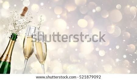 Champagne Explosion With Toast Of Flutes  #521879092