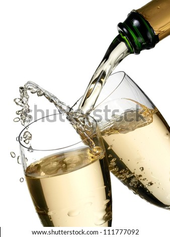 Champagne flow and up in two glasses