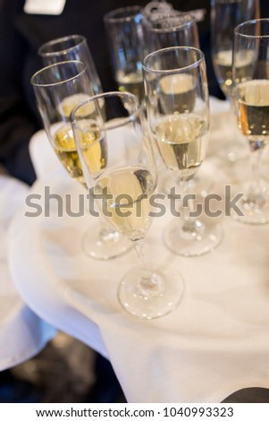 Champagne Flutes for Toast at Wedding #1040993323