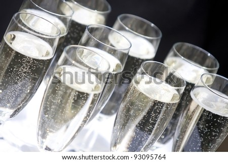 Champagne flutes ready to serve