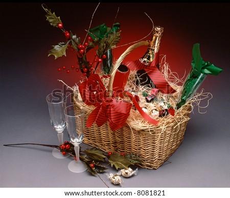 Champagne Gift Basket - stock photo