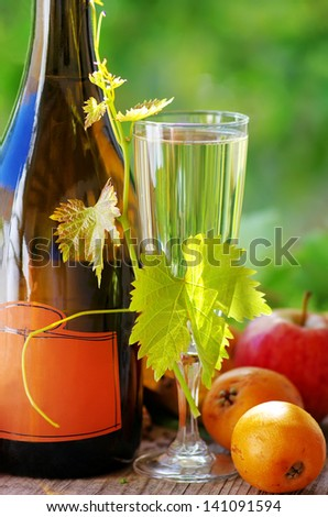 Champagne  glass and fruits