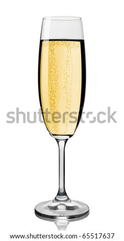 Champagne glass, isolated on white background, clipping path. - stock photo
