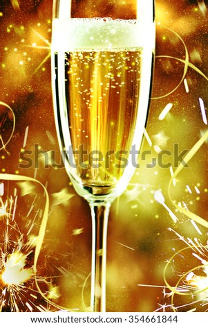Champagne glasse ready to bring in the New Year. #354661844