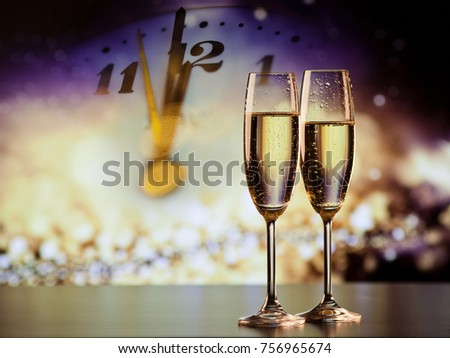 champagne glasses and clock at twelve against holiday lights - new year's eve #756965674