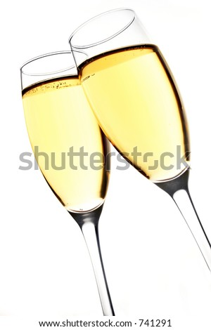 Champagne glasses clinking - stock photo