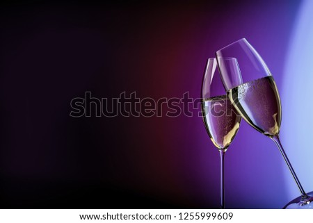 champagne glasses happy birthday clink glasses background 3d illustration #1255999609