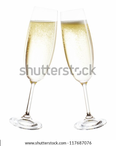 champagne glasses isolated before white background