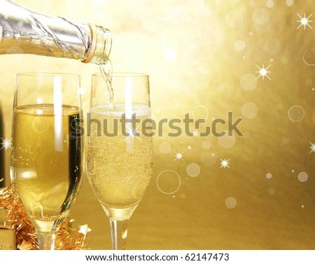 Champagne glasses on celebration table