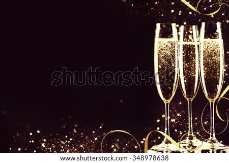 Champagne glasses ready to bring in the New Year. #348978638