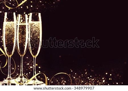 champagne glasses ready to bring in the New Year. #348979907