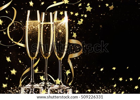 Champagne glasses ready to bring in the New Year.   #509226331